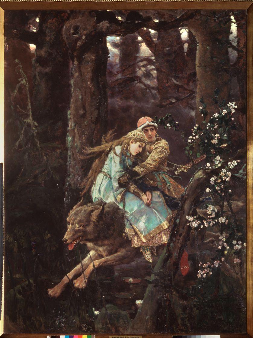 Ivan Tsarevitch chevauchant le loup gris (Illustration du conte Ivan Tsarevich, l'oiseau de feu et le loup gris, lorsqu'il fuit dans la foret, tenant la belle Helene dans ses bras)