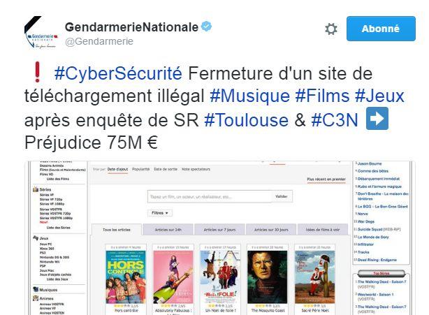Capture du compte Twitter Gendarmerie Nationale