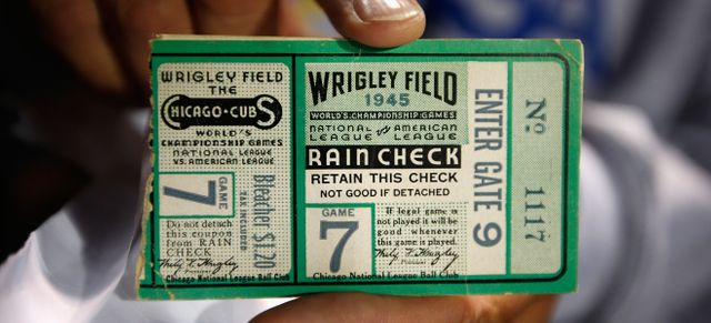 Ticket d'un match des World Series de 1945