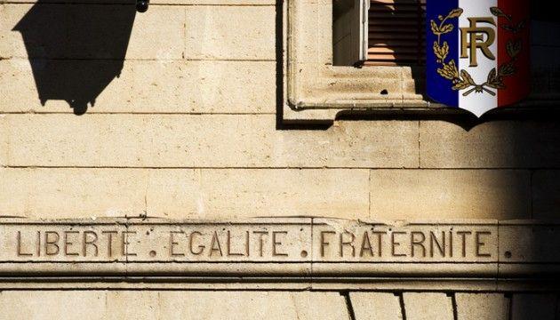 """La devise de la République : """"Liberté, égalité, fraternité""""."""