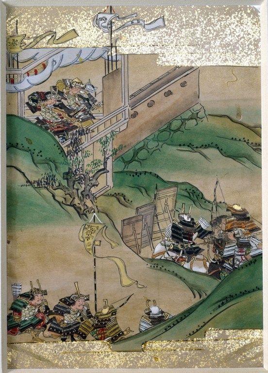 Episode des luttes imperiales au Japon (1308-1368). Miniature de l'ecole Tosa (17eme siecle) aux feuilles d'or et a la nacre d'huitres.