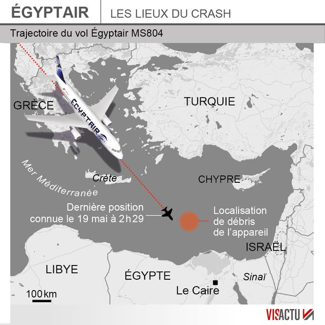 La zone du crash du vol EgyptAir