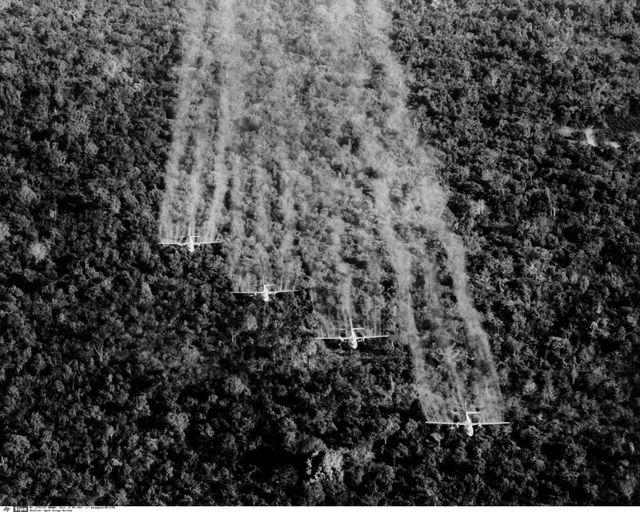 1965 - Des avions de l'US Air Force déversent du défoliant dans le sud du Vietnam