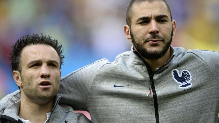 Mathieu Valbuena et Karim Benzema en équipe de France lors du Mondial 2014