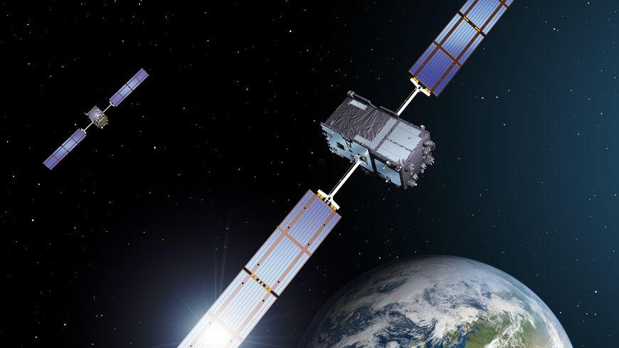deux satellites du réseau Galileo, vue d'artiste