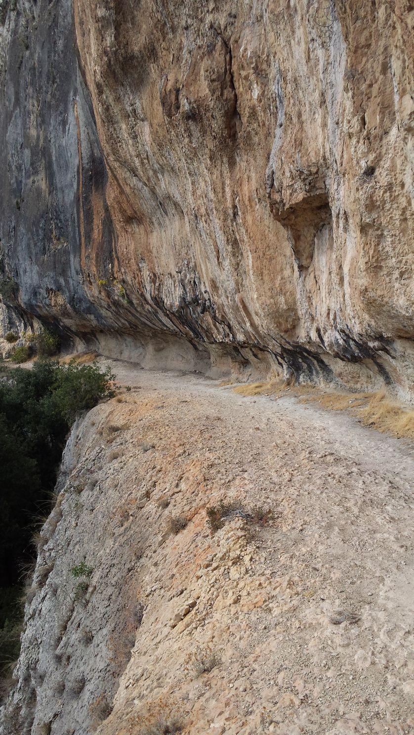 La Vire de Chauvet : chemin creusé naturellement dans la falaise vers la Grotte Chuavet