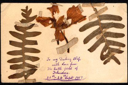 Carte postale d'un soldat britannique pendant la Première Guerre mondiale