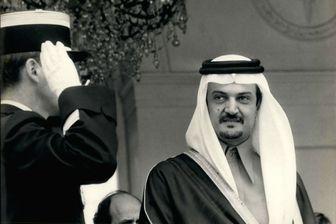Le prince Al-Faysal  Saoud en 1982 quittant le palais de l'Elysée.