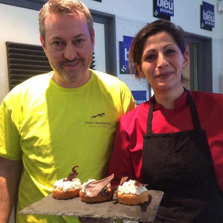 Marc et Delphine autour de son palais breton crémé pain d'épice dressé en studio !