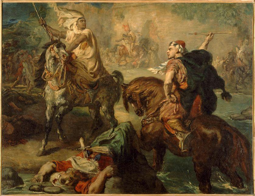 Chefs de tribus arabes se défiant au combat singulier, sous les remparts d'une ville  / Peinture de Théodore Chassériau exposée au musée d'Orsay