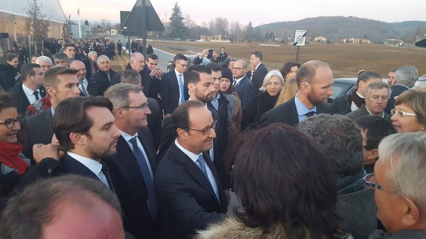François Hollande à sa sortie de Lascaux IV