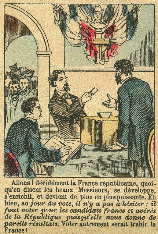 """Gravure du Figaro supplément """"La France Républicaine mérite le vote des Français"""",  1889."""