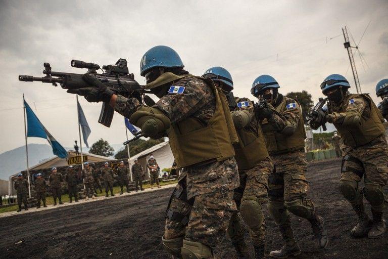 Soldats guatémaltèques membres de la mission de maintien de la paix en République démocratique du Congo (MONUSCO) en exercice à Sake en RDC, 12 juillet 2016