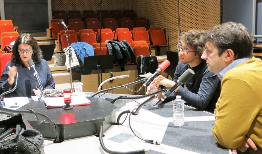 France Culture, studio 109, pendant l'émission ! ... Aline Pailler, Alexandre Lory & Bruno Mantovani (de g. à d.)