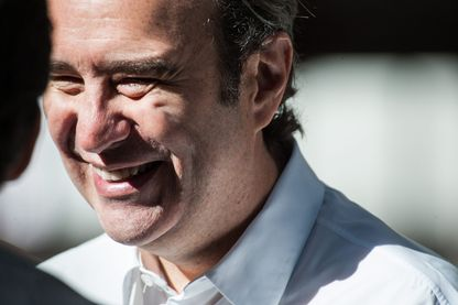 Paris 25/08/2016. Xavier Niel, PDG de Free, assiste a la visite de Sadiq Khan, le maire de Londres, qui effectue son premier déplacement international à Paris a la Halle Freyssinet.