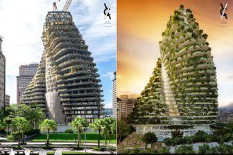 """La tour carbo-absorbante """"TAO ZHU YIN YUAN"""" sera recouverte de plus de 23 000 arbres et arbustes capturant 130 tonnes de CO2 par an dans l'atmosphère de la capitale taïwanaise. Livraison : Septembre 2017"""