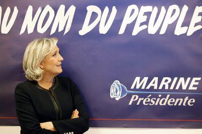 Marine Le Pen lors de l'inauguration de son QG de campagne à Paris, le 16 novembre 2016