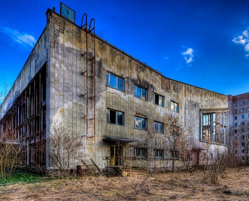 La piscine publique de la ville fantôme de Priypat, à côté de Tchernobyl