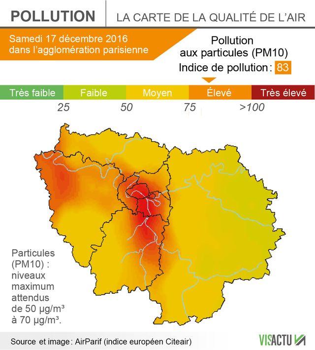 Les prévisions pour la qualité de l'air samedi