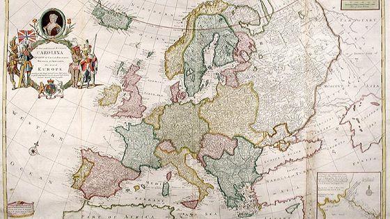 Carte de l'Europe à l'attention de la reine d'Angleterre Caroline d'Ansbach