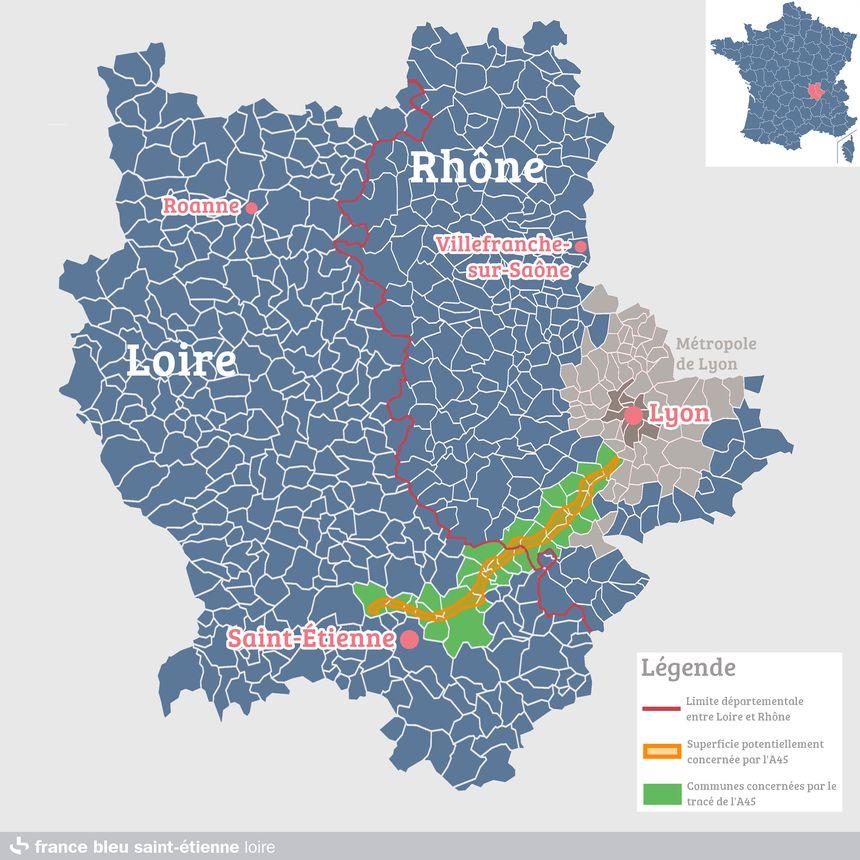 Le tracé de l'A45 concerne 15 communes dans la Loire.