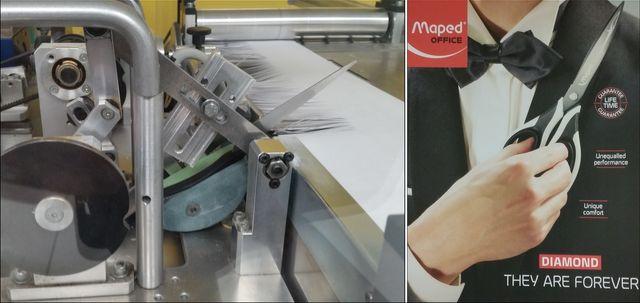 Photo montage : à gauche, le laboratoire Test Ciseaux de Maped © Anne Brunel / A droite, une publicité pour ciseaux Maped