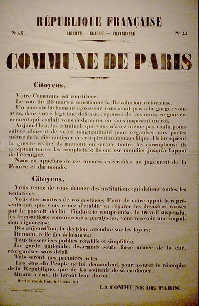 Affiche de la proclamation de la Commune de Paris, le 29 mars 1871, où est exposé son programme politique et social