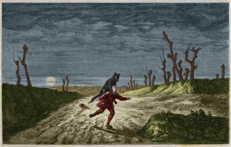 Le loup garou (Le loup-garou , lupo mannaro) gravure d'apres une peinture de Maurice Sand. Gravure de 1857.