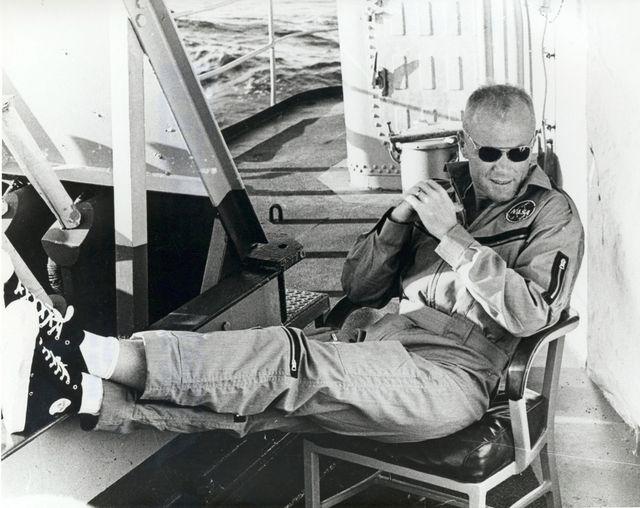 John Glenn, après son premier vol autour de la terre, 20 février 1962