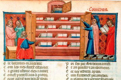 Librairie (Manuscrit du Roman de Troie de Benoît de Sainte-More)