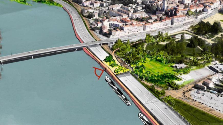 L'esplanade sera construite au dessus de l' A7 au sud du pont Mistral à Valence