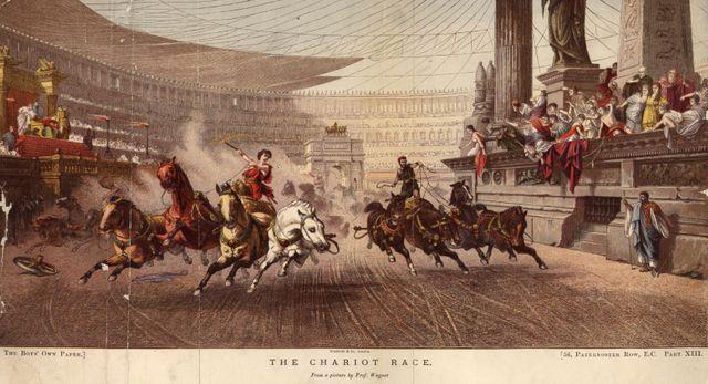 Course de chariot dans le Circus Maximus à Rome