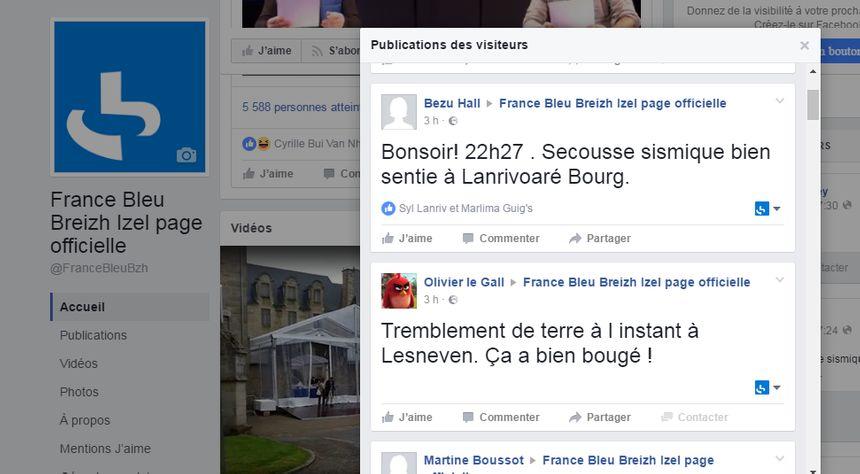 En ressentant la secousse, vous avez été nombreux à interpeller France Bleu Breizh Izel via les réseaux sociaux.