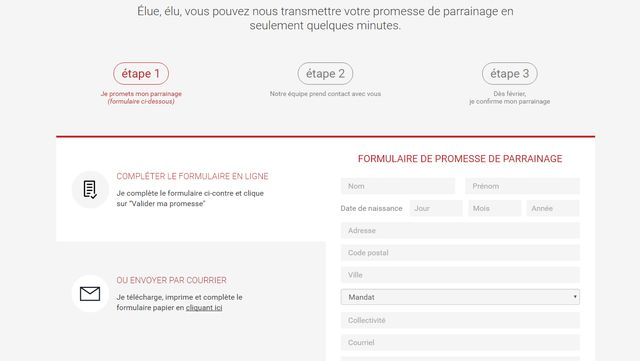 """Le formulaire de """"promesse de parrainage"""" à Emmanuel Macron"""