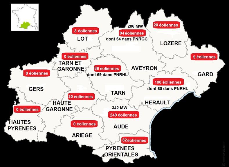 La répartition des éoliennes dans la région Occitanie.