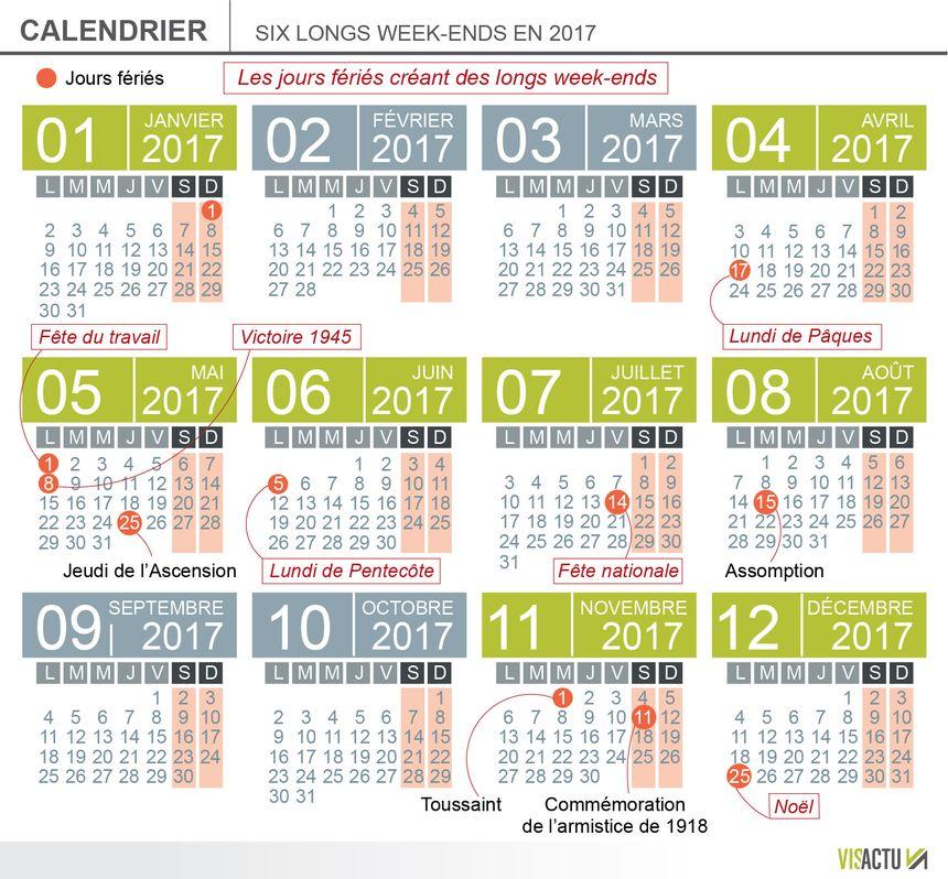 Calendrier Jours Feries.En 2017 Le Calendrier Des Jours Feries Offre Six Week Ends