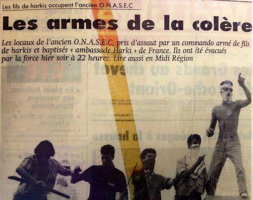 """Article La dépêche du Midi """"Les fils de harkis occupent l'ancien ONASEC"""""""