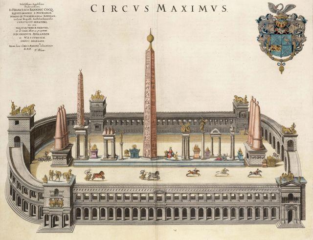 Le Cirque Maximus (De l'Atlas Van Loon). Artiste :  Joan Blaeu (1596-1673)