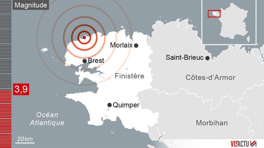 L'épicentre a été localisé au Nord de Brest, sur la commune côtière de Plouguerneau et à quelques dix kilomètres de profondeur, selon les données publiées par le Réseau National de Surveillance Sismique.