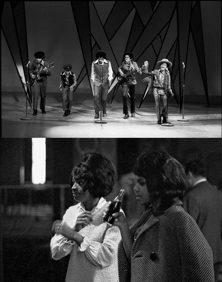 Les Jackson 5 lors de leur première apparition dans The Ed Sullivan Show à New York, le 14 décembre 1969 et photo du bas: Les Supremes