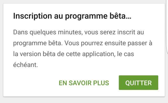 """Cliquez sur """"Quitter"""" pour quitter le programme BETA et revenir à l'ancienne version de l'application"""