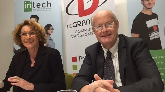 La Présidente du Grand Dax Elisabeth Bonjean avec le directeur d'In Tech Sud-Ouest Jean-Michel Talavéra