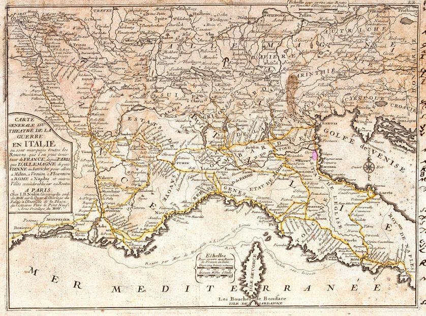Carte des routes reliant la France aux principales villes italiennes (Milan, Venise, Florence, Rome, Naples) - Gravure extraite de l'atlas le theatre du monde, 1717, de Jean Baptiste Nolin (1686-1762)