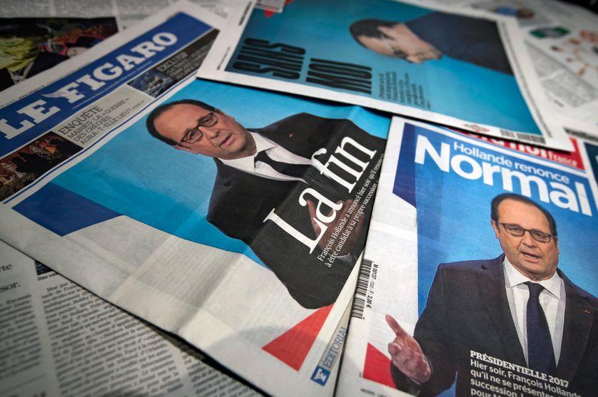 Unes de journaux au lendemain du renoncement de François Hollande