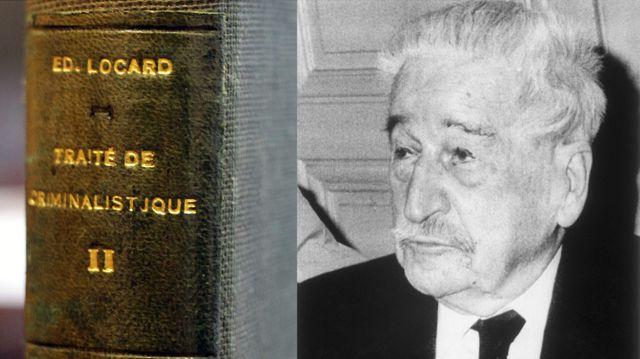 L'un des volumes du traité criminalistique © Pierre Augros/MaxPPP et le portrait d'Edmond Locard