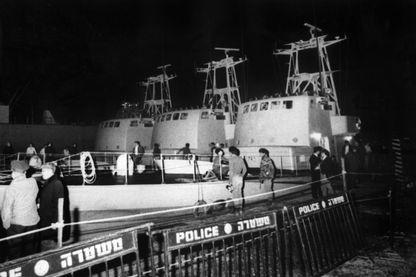 Trois des cinq « vedettes de Cherbourg » amarrés à quai dans le port d'Haïfa, en Israël, le 1er janvier 1970.