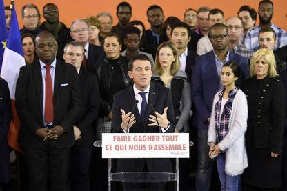 Manuel Valls, ce lundi à Evry, lors de son annonce de candidature à la primaire socialiste