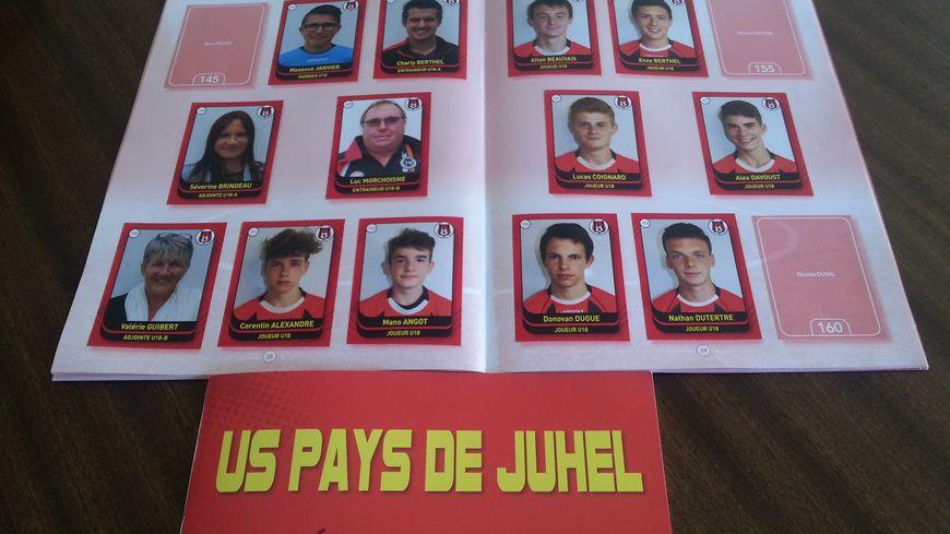 l'album Panini de l'US Pays de Juhel Football