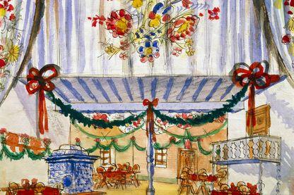Dessin pour le décor de La Fiancée Vendue de Bedrich Smetana