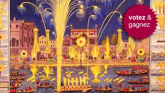 """Peinture : """"A View of the Fire-Workes and Illuminations at his Grace the Duke of Richmond's at White-Hall and on the River Thames, on Monday 15 May, 1749"""""""